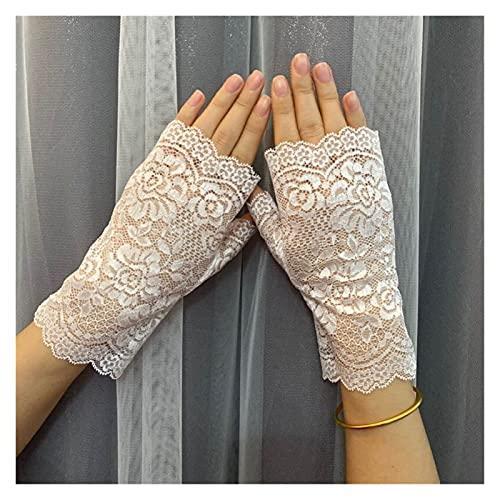 Guantes de protección solar Verano cicatriz encaje guantes cortos femenino sección sin dedos sin dedos sin dedos medio fugas de fugas protector solar guantes ( Color : White , Gloves Size : One Size )