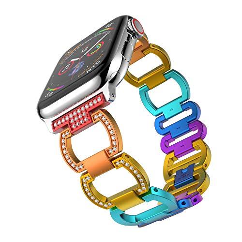 ANBEST Correa Compatible con Apple Watch Correa 38mm 40mm Mujer, Arco Iris Pulsera Lujo Vistoso Aleación de Aluminio 42mm / 44mm Pulsera Correa for Series 5 4 3 2 1 (Vistoso)