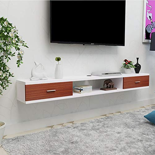 Wandmontage TV plank Wandplank Zwevende plank Met lade Wifi router Set top box Sky box Kabel box DVD's CD fotospeelgoed Opbergplank Wandmeubel Decor, 1.2M, White+brown
