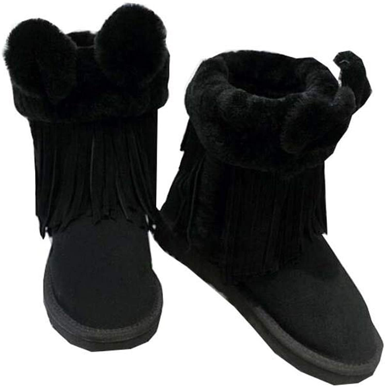 Snöboot kvinnor Sweet Plush Plush Plush Tassel Flat Heel Varma Cotton skor Casual kort Booslips EU Storlek 35 -41  upp till 70%