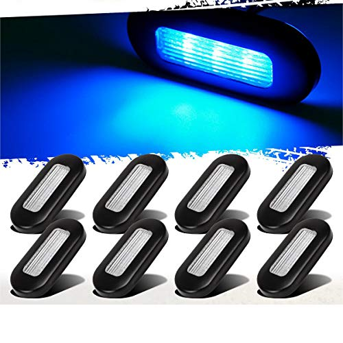 Partsam 8Pcs 12V Blue LED Oblong Courtesy Lights Yacht RV Marine Boat Trailer Stair Deck Garden Lights Lamps Black Finish 3' by 1.25'
