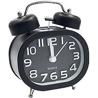 """EASEHOME Retro Reloj Despertador Analógico de Cuarzo, 3"""" Doble Campanas Despertadores Silencioso Vintage Relojes de Mesita Sin Tictac con Luz de Noche y Fuerte Alarma para Niños Adultos, Negro"""