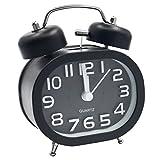EASEHOME Sveglia a Doppia Campana, Retro Sveglia Silenziosa da Comodino Orologio Sveglia Metallo di Quarzo Analogico 3 Pollici Sveglia Batteria da Viaggio con Luce Notturna e Allarme Forte, Nero