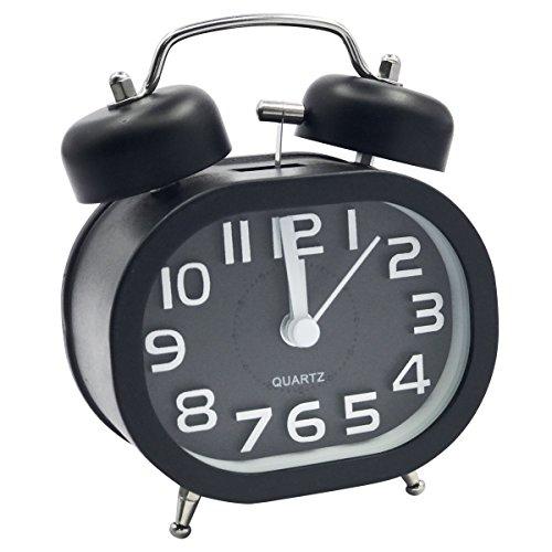 EASEHOME Sveglia a Doppia Campana, Retro Sveglia Silenziosa da Comodino Orologio Sveglia...
