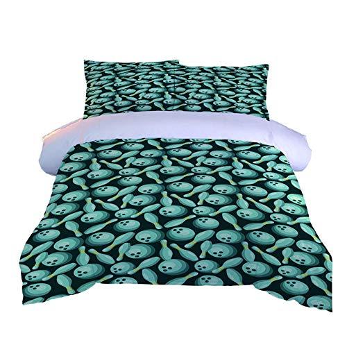 KONGWST Bettbezug Set Mit 2 Kissenbezug 3D Grüne Bowlingkugel,Baumwollstoff Bettwäsche Cover Set 3 Stück Super King Größe -260Cm W X 220Cm H
