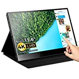 Portable Touch Monitor, Eyoyo 15.6 inch 4K USB C Monitor Touchscreen UHD 3840x2160 10-Point Touch USB C HDMI Laptop Display Gravity Sensor Automatic Rotate Support PD Fast Charge for Laptop Cellphone