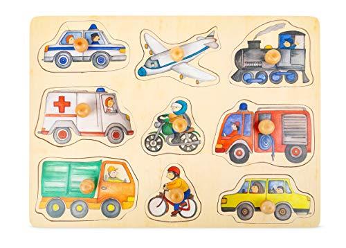 Small Foot Company- Rompecabezas de Encaje Ciudad de Madera con detallados Motivos de vehículos, a Partir de los 12 Meses juguetes, Multicolor (11503) , color/modelo surtido