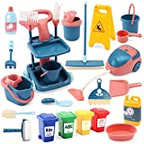 24 Pcs Kids Cleaning Mini Set - Toy Cleaning Set Includes Vacume, Broom, Mop, Brush, Dust Pan, Duster, Sponge, Bucket, Caution Sign, Trash Can - Toy Kitchen Toddler Cleaning Set Educational Toys