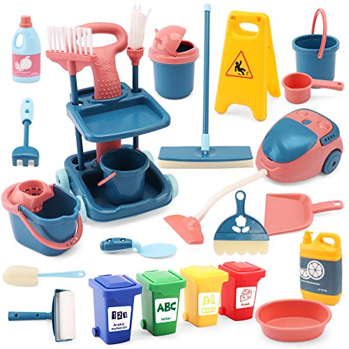 24 Pcs Kids Cleaning Mini Set  Toy Cleaning Set Includes Vacume Broom Mop Brush Dust Pan Duster Sponge Bucket Caution Sign Trash Can  Toy Kitchen Toddler Cleaning Set Educational Toys