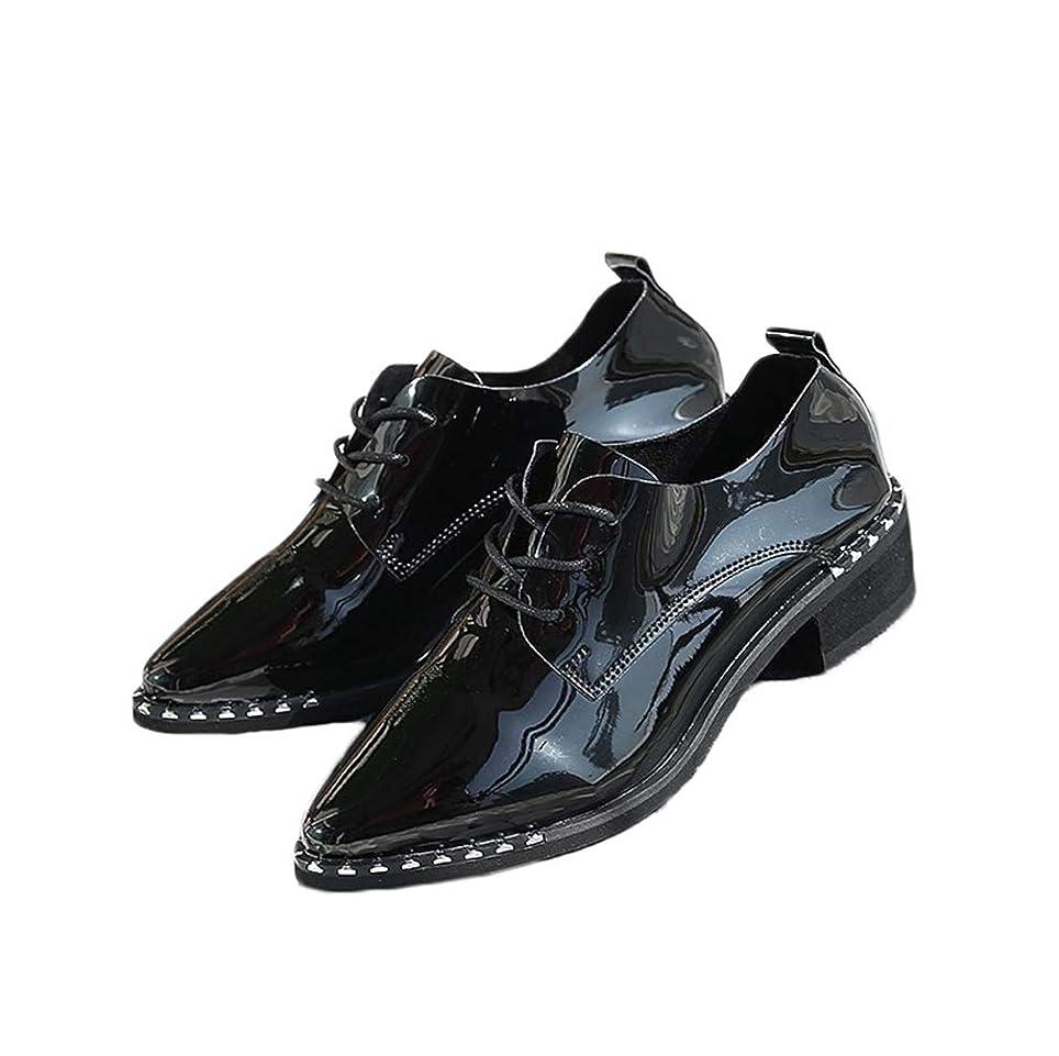 等々助言単位[THLD] レースアップシューズ レディース オックスフォード おじ靴 靴 マニッシュシューズ 金属 エナメル 大きいサイズ オックスフォードシューズ 黒 3.5cm ローヒール ショートブーツ かっこいい 秋ブーツ ブーティー パンプス