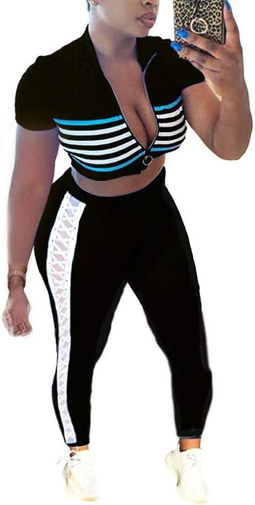 Women Two Piece Outfits Stripes Print Crop Tops Lace Up Bodycon Pants Tracksuit Set Jogging Worksuit