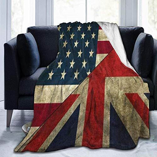 XCNGG Coperte da Letto Coperte pisolino Coperte Aria condizionata British American Flag Fleece Blanket Cozy Thermal Fleece Blanket Non Shedding Premium Flannel Fleece Throw Blanket Luxury Thick Couch