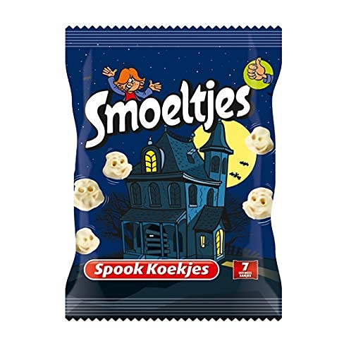 Smoeltjes Spook Koekjes 200 gram Eng Lekkere Cookies! Koek met een laagje witte imitatiechocolade in de vorm van…