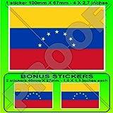 VENEZUELA Ehemalige Zivile Flagge, Fahne (7 Stern) Venezolanisch, SÜDAMERIKA 100mm Auto & Motorrad Aufkleber, Vinyl Sticker x1+2 BONUS