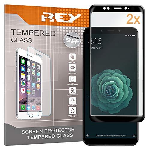REY Pack 2X Panzerglas Schutzfolie für XIAOMI MI 6X - MI A2, Schwarz, Displayschutzfolie 9H+, Polycarbonat, Härte, Anti-Kratzen, Anti-Öl, Anti-Bläschen, 3D / 4D / 5D