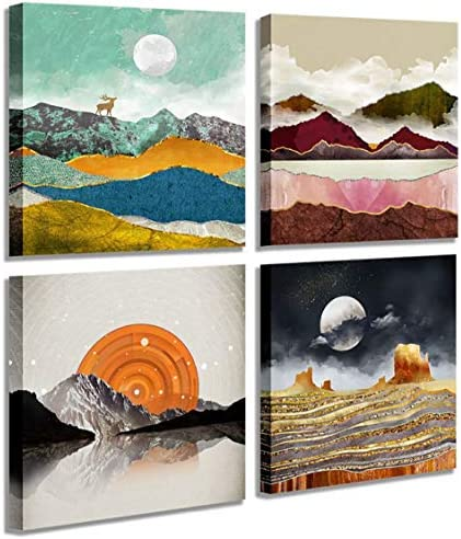 Abstract Geometric Watercolor Painting Wall Decoration Deer Mountain River Landscape Desert product image