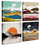 Abstract Geometric Watercolor Painting Wall Decoration-Deer Mountain River Landscape Desert Forest Sunrise Scenery Print Picture Canvas Wall Art for Living Room Bathroom Office Home Decor 14'X14'
