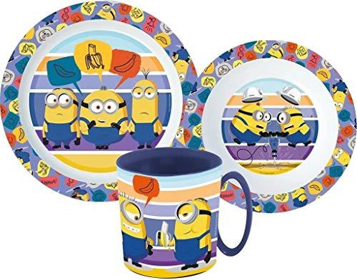 Minions Kinder-Geschirr Set mit Teller, Müslischale und Tasse