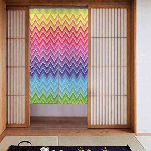 Temox Japanese Noren Doorway Curtain/Tapestry Rainbow Colored Chevron Line Art W34 x L56 Home Decoration