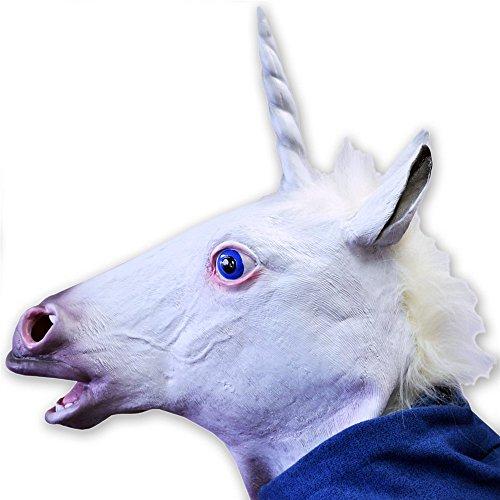 Youareking&reg Halloween Creepy Adult Unicorn head latex Rubber Mask - Fancy Dress