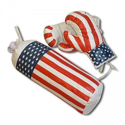 takestop® Komplettset Boxhandschuhe Boxsack zum Aufhängen Boxhandschuhe Handschuhe 10oz Sport Boxen Boxer Spielzeug Kinder Sport Flagge Amerika