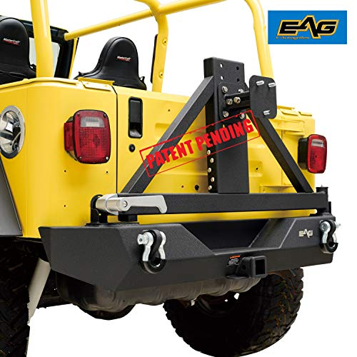 EAG Steel Black Rear Bumper with Tire Carrier and Hitch Receiver Fit for 87-06 Jeep Wrangler TJ YJ