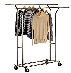 Commercial Grade Double Rail Garment Rolling Rack