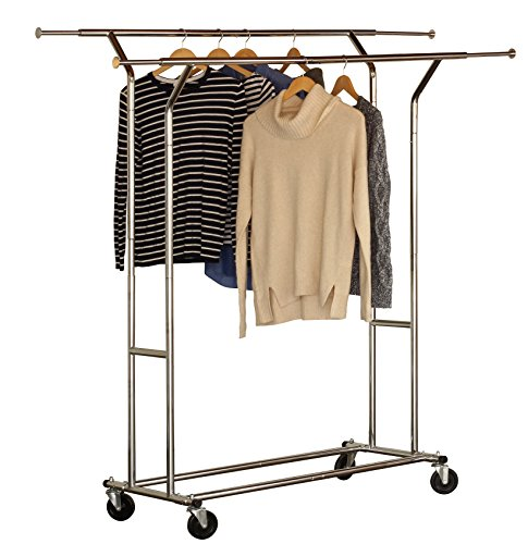 DecoBros Supreme Commercial Grade Double Rail Garment Rolling Rack Chrome Finish