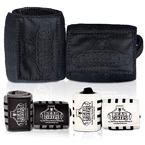"""Bear Grips Wrist Wraps. Superior Wrist Wraps for Weightlifting, Ultimate Lifting Wrist Wraps, Men & Women, Available in 2-Band or Extra Strength, Two Wrist Wrap Per Pair, Come in Black 12"""""""
