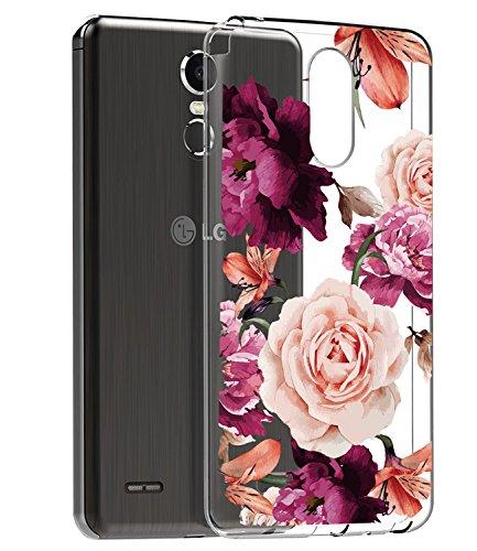 BAISRKE LG Stylo 3 Case, LG Stylo 3 Plus Case, LG Stylus 3 Case with Flowers Slim Shockproof Clear Soft Flexible TPU Back Cove for LG Stylo 3/Stylo 3 Plus/LG LS777 [Purple Pink]