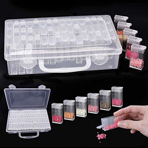 YIQI 64 Fächer Kunststoff Dosen, Diamant Stickerei Sortierbox in Stabiler Aufbewahrungsbox Werkzeugbehälter Schmuck Organizer Diamond Painting Box für Nägel, Strass, Perlen, DIY Handwerk