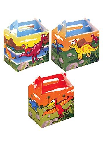 Dino Geburtstags Party Box als Mitgebsel, Dinosaurier Geschenkverpackung- 12 Stück Sortiert