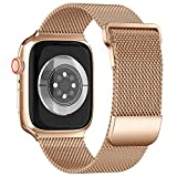 ToouYoor Cinturino Compatibile per Apple Watch Cinturino 38mm 40mm 42mm 44mm, Cinturini in Acciaio Inossidabile a Maglia Milanese per iWatch Series 6 5 4 3 2 1 SE,Oro,38/40mm