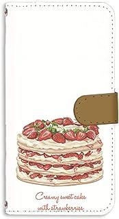HTC J butterfly HTL23 用 手帳型 ミラータイプ すまほケース [スイーツ・ストロベリー] パンケーキ デザート エイチティーシー ジェー バタフライ au 楽天モバイル ワイモバイル 鏡付きカード収納 スマホカバー けいた...