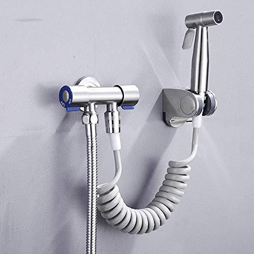 Set de ducha bidé termostático de cromo Kit - Rociador de bidé de acero inoxidable 304, conjunto de pistola rociadora de inodoro a presión cepillada-si