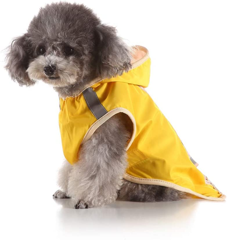 Pet Dog Rain Jacket with Hood Lonshell Puppy Cat Waterproof Raincoat Rain Poncho with Reflective for Small Medium Large Dogs Anti Rain Outerwear Outdoor Water-Resistant
