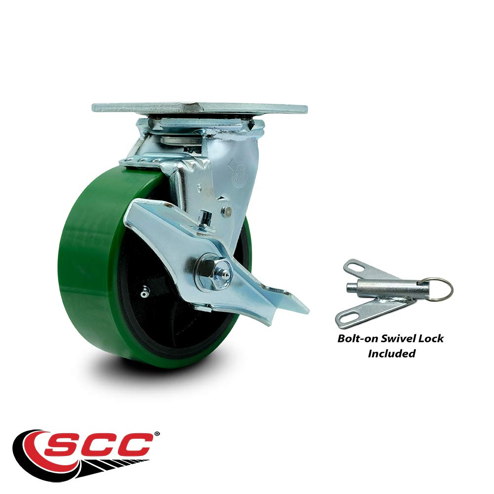 Poly on Cast Iron Swivel Caster w//Main Free Bearings Set 4 w//4 x 2 Green Wheels-Includes 2 Swvl w//Brakes and Bolt on Swvl Lcks/&2 Swvl with Bolt on Swvl Lcks-2800 lbs Total Cpty-Service Caster Brand