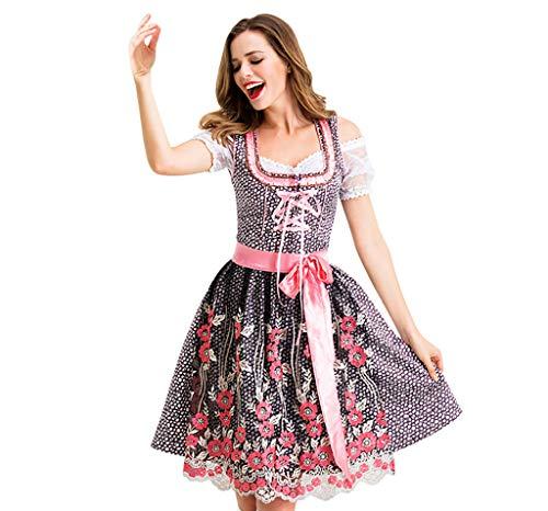 Lazzboy Kostüm Oktoberfest für Damen Bayerisches Biermädchen Dirndl Tavern Maid Dress(Rot-a,S)