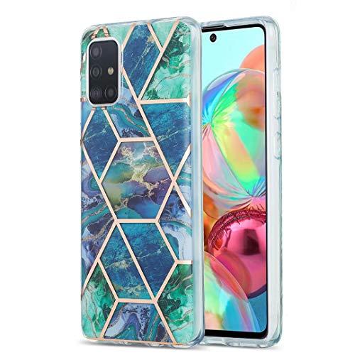 Schutzhülle für Xiaomi Redmi Note 9S & Redmi Note 9 Pro, ultradünn, glitzernd, Marmor-Stein-Muster, glänzend, Hybrid-Hülle, dünne weiche Rückseite, TPU-Gummi-Gel-Schutzhülle, stoßfest, Blau / Grün