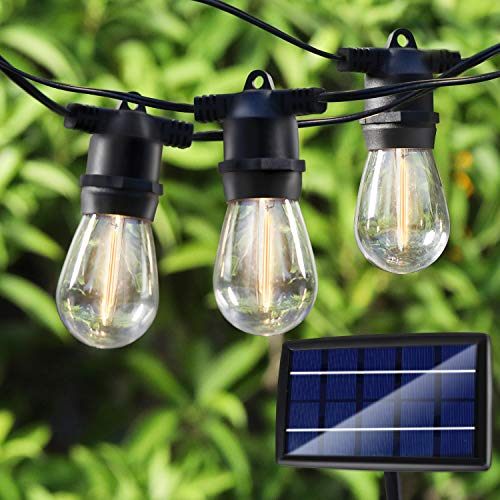 48FT LED Solar String Lights Outdoor, Waterproof Hanging Lights with 17 Shatterproof Vintage Edison Bulbs(2 Spare), Commercial Grade Patio Lights for Backyard Patio Porch Café by PARTPHONER