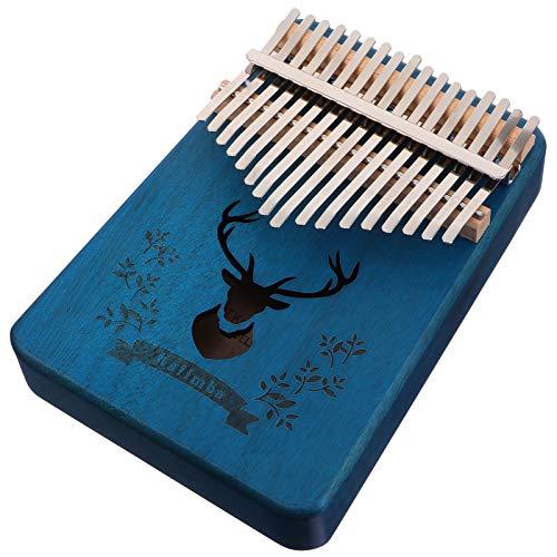 HEALLILY Kalimba 17 Tasten Daumen Klavier Holz Finger Klavier Start Kit Leicht zu Erlernen Tragbare Musikinstrument Geschenke für Kinder Erwachsene Anfänger Blau