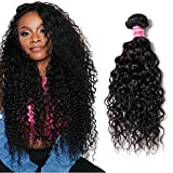 YIROO Brazilian Water Wave Virgin Human Hair Wet and Wavy Bundle Deal Hair Extensions 100% Unprocessed Double Weft 95-100g/pc Natural Black Color Tangle Free (24', One Bundle)