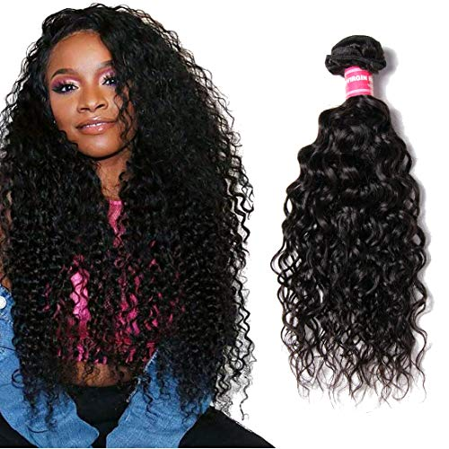 """YIROO Brazilian Water Wave Virgin Human Hair Bundle Wet and Wavy Deal Hair Extensions 100% Unprocessed Double Weft 95-100g/pc Natural Black Color Tangle Free (8"""", One Bundle)"""