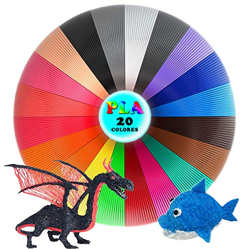 YingStar Filamento para Pluma 3D 20 Colores Filamentos Lapiz 3D PLA 5M por Color Impresora 3D Precisión Dimensional +/- 0.02mm 3D Pluma Filamento Compatible con Mayoría 3D Plumas 3D Impresoras 1.75mm