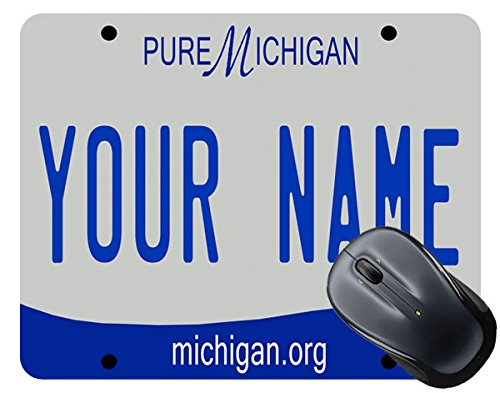 BleuReign(TM) Personalized Custom Name 2016 Michigan License Plate Mouse Pad