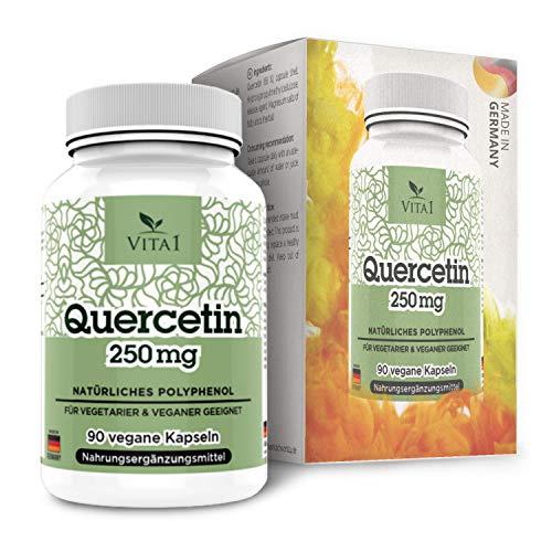 VITA1 Quercetin 250mg • 90 Kapseln (3 Monate Vorrat) • Glutenfrei, vegan, koscher & halal • Hergestellt in Deutschland