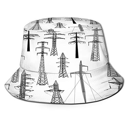 huagu Sombrero Pescador Unisex,Colección de Torres eléctricas de ilustración aislada en,Plegable Sombrero...
