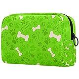 Bolsa de brochas de maquillaje personalizable, bolsa de aseo portátil para mujeres, bolso cosmético, organizador de viaje, diseño de huella de perro verde y hueso