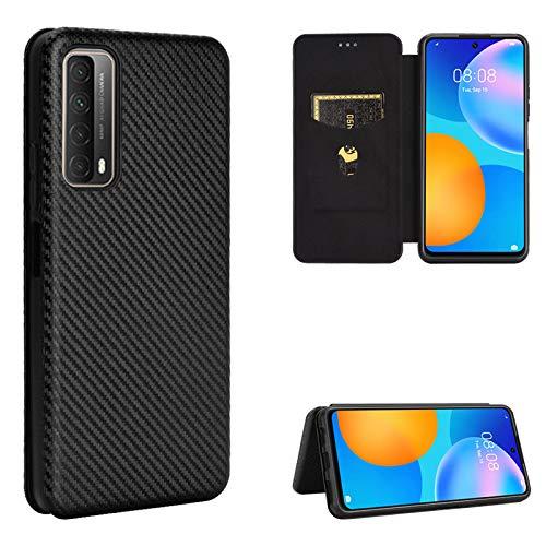 TOPOFU Huawei P Smart 2021 Hülle,Flip Premium Kohlefaser LederHülle Wallet Schutzhülle mit Kartensteckplätze,Magnetverschluss,Ständer Handyhülle für Huawei P Smart 2021-Schwarz