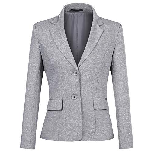 Yynuda Blazer da donna, giacca estiva elegante per l'ufficio, dal taglio aderente grigio. 46